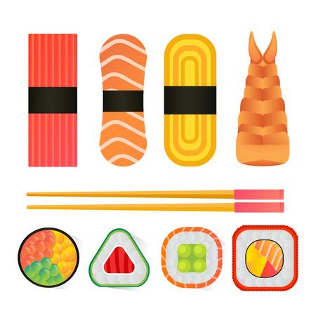 Een vectorsushi en broodjes geplaatst die op witte achtergrond worden geïsoleerd. Stock Illustratie