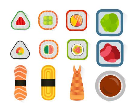 Een vector sushi en broodjes set geïsoleerd op een witte achtergrond. Stock Illustratie