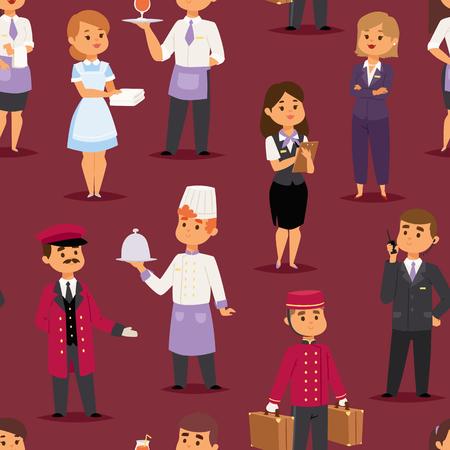 ホテル職業人の労働者幸せ受付ホテルのカウンターと、均一なシームレス パターン ベクトル図にかわいいキャラクターに立って