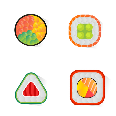 A Vector sushi and rolls set isolated on white background.