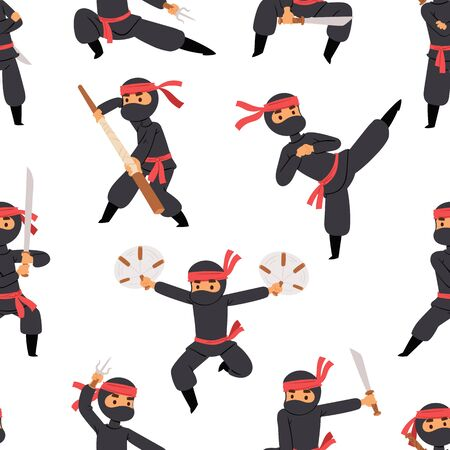 Different poses of ninja fighter in black cloth character warrior sword martial weapon japanese man and karate cartoon person seamless Stock Photo