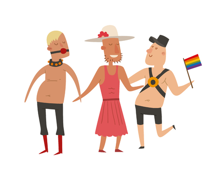 Homosexual gay and lesbian people marriage man, woman couples family and colors free love ceremony community characters tolerance symbol vector illustration. Illustration