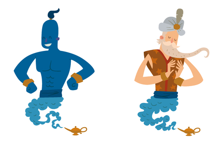 Cartoon genie character magic lamp vector illustration treasure aladdin miracle djinn coming out isolated legend set wish magical wizard desire Illustration