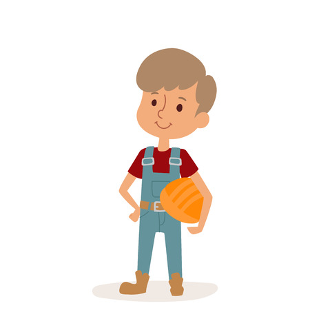 Little cartoon builder boy with tools helmet character person on white background vector profession uniform worker isolated illustration kid Illustration