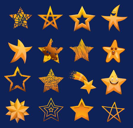 five pointed: Set of shiny star icons in different style Illustration