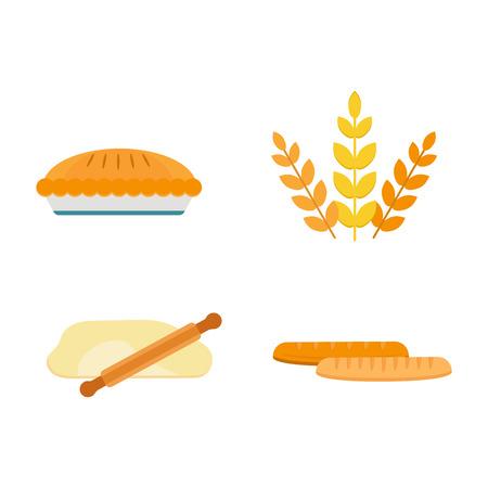 ベクトル焼きたてパン製品アイコン分離定食ベーカリー小麦パン ライ麦粒おやつ朝食のバゲット穀物の栄養有機クロワッサン 写真素材 - 73444021