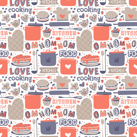 skimmer: Cooking seamless pattern retro style with kitchen and baking items vector.