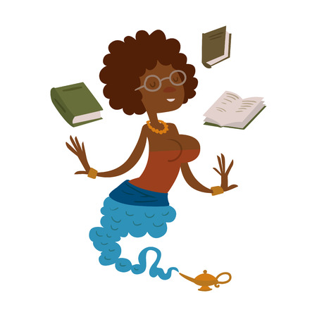 Vector cartoon beautiful teacher genie from the magic lamp on a white background. Set of fairy tale characters. Teacher djinn in glasses and books. Cartoon cute teacher djinn.