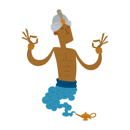 Cartoon strong genie coming out of a magic lamp flat vector illustration. Vector Cartoon strong djinn Magic Lamp. Legend people in black glasses. Illustration