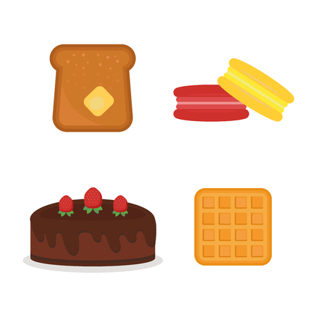 Vector macaroon fresh baked bread products icons isolated set bakery wheat toast grain snack cream cereal nutrition organic croissant