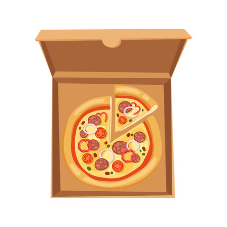 Pizza boîte vector illustration carton carton objet paquet isolé papier récipient alimentaire conception livraison déjeuner emballage carré ouvert Banque d'images - 74265603