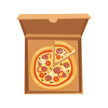 Van het de illustratiekarton van de pizzadoos van het het kartonkarton het pakket geïsoleerde document van Stock Illustratie
