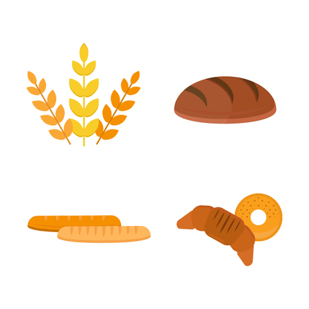 Vector fresh baked bread products icons isolated set meal bakery wheat loaf rye grain snack breakfast delicious baguette cereal nutrition organic croissant