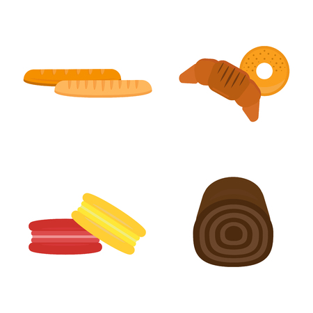 Vector macaroon baked bread products icons isolated set meal bakery wheat loaf rye grain snack breakfast baguette cereal nutrition organic croissant