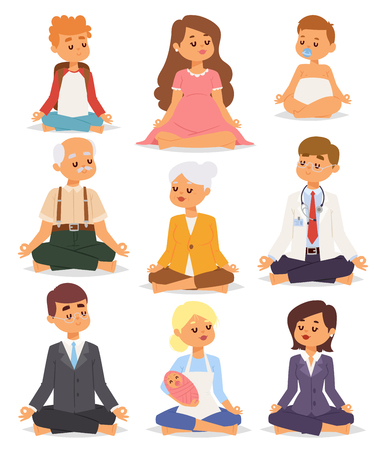 Lotus position yoga pose meditation art relax people relax isolated on white background design concept character happiness vector illustration. Illustration