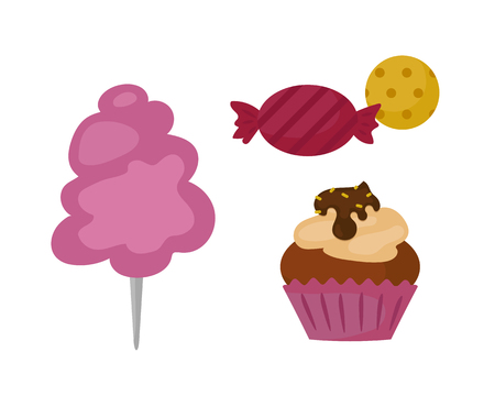 chocolate swirl: Sweets food bakery dessert sugar confectionery lollipop design and snack chocolate cake colorful holiday candy caramel icon vector illustration.