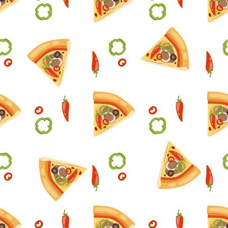 ピザのシームレスなパターン ベクトル図の部分スライスのピッツェリア食品メニュー スナック ホワイト バック グラウンド成分提供イタリア チー  イラスト・ベクター素材