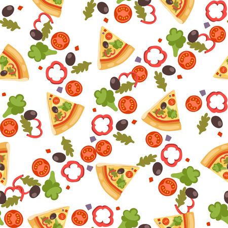 ピザのシームレスなパターン ベクトル図
