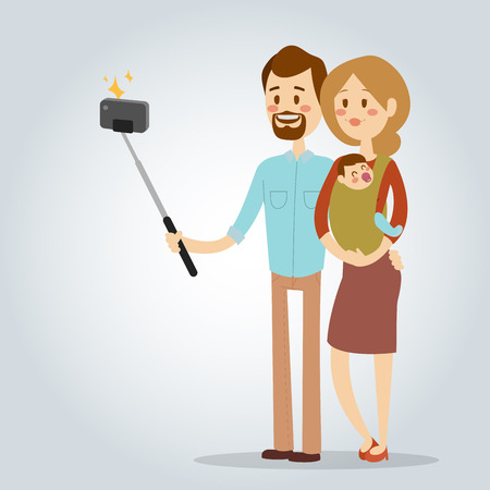 Selfie people isolated vector illustration character photo lifestyle hipster smart flat camera smartphone person picture young couple family