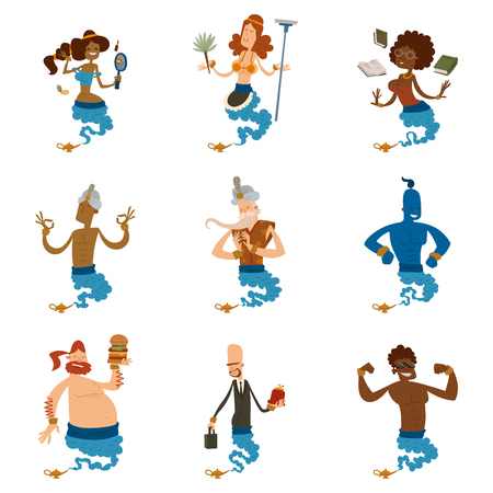 Cartoon genie character magic lamp vector illustration treasure aladdin miracle djinn coming out isolated legend set wish magical wizard desire Ilustracja