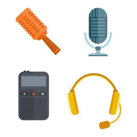 voices: Microphone vector icon isolated interview music TV tool show voice radio broadcast audio live record studio sound media set headphones set dictaphone