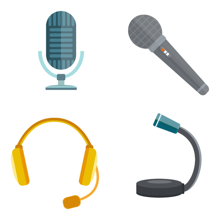 Microphone vector icon isolated interview music TV web vocal tool show voice radio broadcast audio live record studio sound media set headphones set Illustration