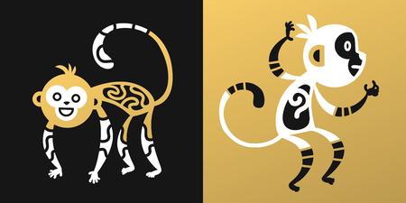 japanese paper art: monkey vector illustration chinese style Illustration