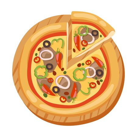 margherita: Pizza flat icons isolated vector illustration piece slice pizzeria food menu snack on white background ingredient deliver Illustration