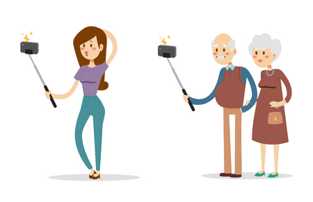 Selfie people isolated vector illustration character photo lifestyle set hipster smart flat camera smartphone person picture