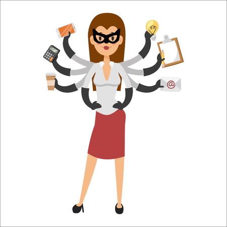 슈퍼 영웅 비즈니스 여성 캐릭터 벡터 일러스트 레이 션 성공 만화 파워 개념 강한 사람이 실루엣 리더 팀 개인 비서