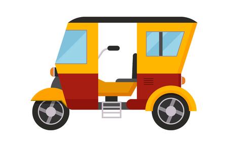Yellow taxi bus vector illustration isolated car city travel cab transport traffic road street wheel service symbol icon passenger auto sign Illustration
