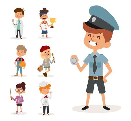 cartoon profession kids children vector set illustration person childhood painter sportsman chef builder policeman doctor artist driver businessman
