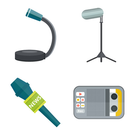 Microphone vector icon isolated interview music TV web broadcasting vocal tool show voice radio broadcast audio live record studio sound media set Illustration
