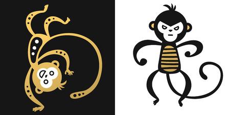 chinese new year card: monkey vector illustration chinese style Illustration