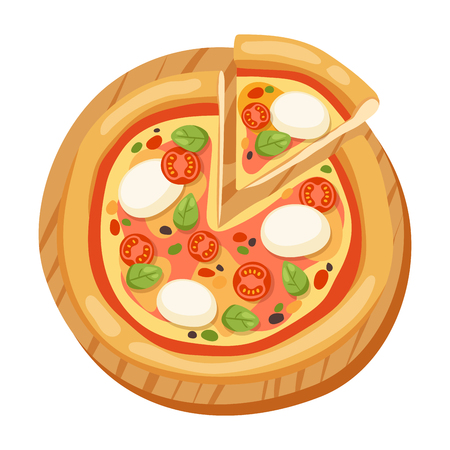 Pizza flat icons isolated vector illustration piece slice pizzeria food menu snack on white background ingredient deliver Illustration