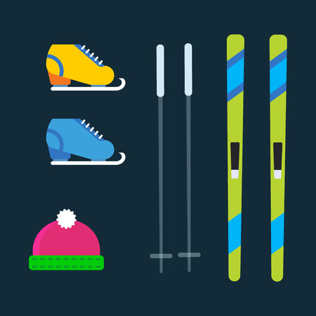 Skiing winter season equipment vector illustration sport clothes tools elements hat skates ski poles item equipment extreme lifestyle Illustration