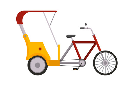 Rickshaw bike vector isolated taxi yellow tourism illustration transport isolated cab travelling service traffic icon symbol passenger sign delivery