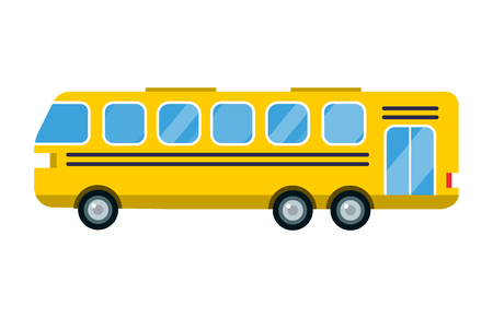 City yellow bus vector illustration isolated road transport vehicle travel transportation tourism passenger truck school trip delivery station traffic Illustration