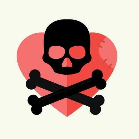 Skull and crossbones mark of the danger warning on red heart and dead skeleton horror art human halloween symbol vector illustration. Illustration