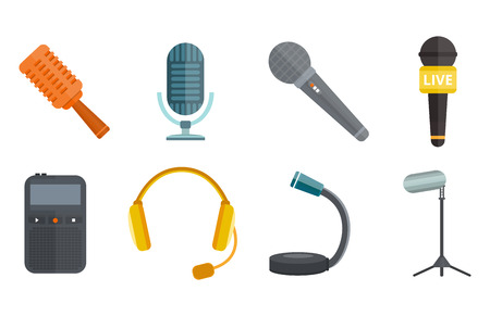 Microphone vector icon isolated interview music TV web vocal tool show voice radio broadcast audio live record studio sound media set headphones set Illustration