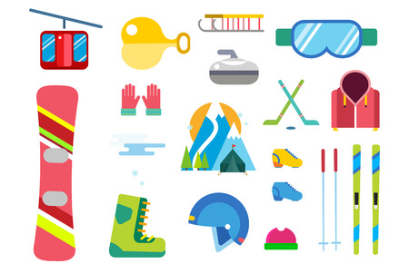 Winter sport vector icons set ski snowboarding clothes tool elements helmet glove boots element item illustration isolated equipment extreme lifestyle Illustration