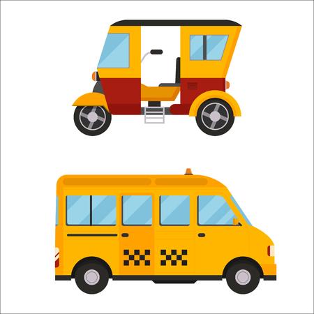 Yellow taxi bus vector illustration isolated car city travel cab transport traffic road street wheel service symbol icon passenger auto sign set Illustration