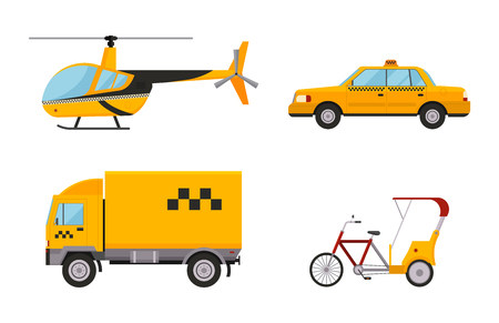 Taxi cab isolated vector illustration white background passenger car transport yellow icon sign city truck van cargo helicopter bicycle different