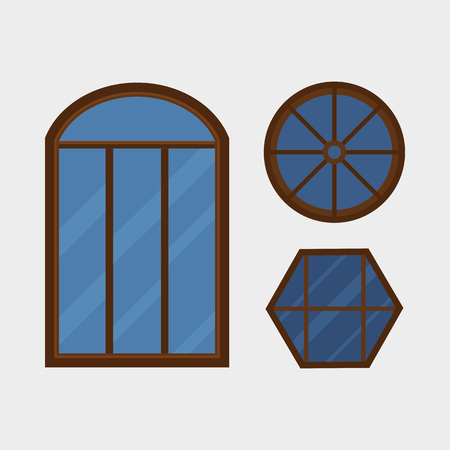 Type of house windows element isolated flat style frame domestic door double construction and contemporary decoration apartment vector illustration.