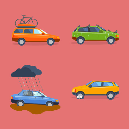 smash: Car crash collision traffic insurance safety automobile emergency disaster and emergency disaster speed repair transport vector illustration.