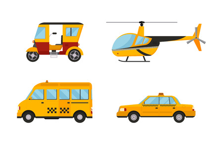 dispatcher: Taxi cab isolated vector illustration white background passenger car transport yellow icon sign city truck van cargo helicopter city different