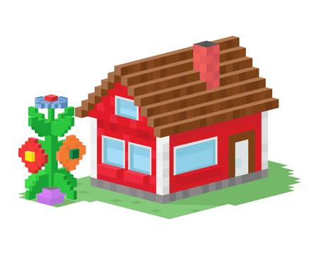 La cabaña de las propiedades inmobiliarias del arte del pixel del pueblo de la casa plana colorida linda del estilo y el diseño residencial residencial del diseño casero del vector vector el ejemplo. Foto de archivo - 74029539