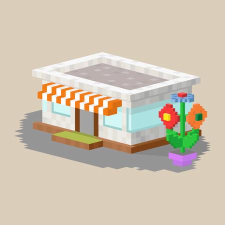 La cabaña de las propiedades inmobiliarias del arte del pixel del pueblo de la casa plana colorida linda del estilo y el diseño residencial residencial del diseño casero del vector vector el ejemplo. Foto de archivo - 74029541