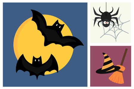 Halloween vector icons set traditional trick or treat celebration cemetery collection and darkness decoration design fantasy fear vector illustration.