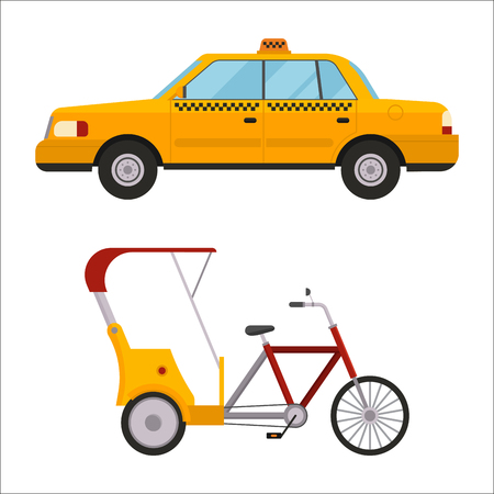 Yellow taxi rickshaw bike vector illustration car transport isolated cab service traffic icon symbol passenger urban auto sign delivery commercial